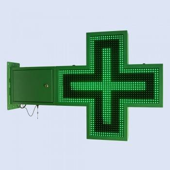 Cruz de farmacia LED monocolor verde programable 830x830mm