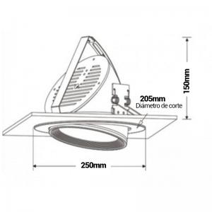 Aro empotrable cuadrado para dicroica LED