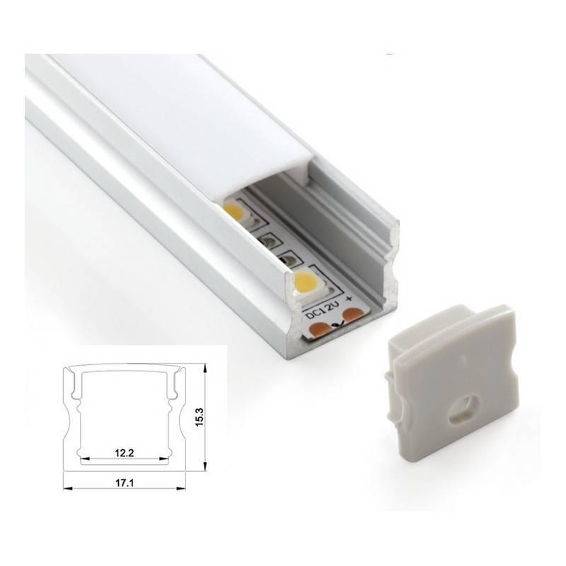Perfil de superficie 17x15 para tira led