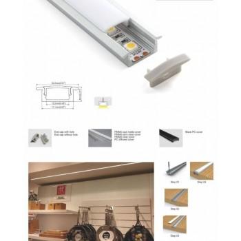perfil de aluminio empotrable