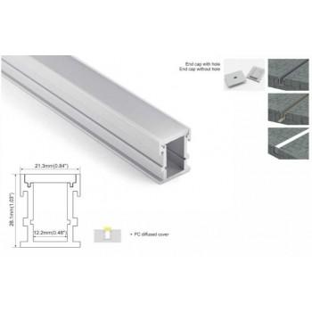 Perfil iluminación empotrada en suelos 21x26mm (2mt.)