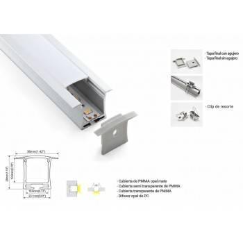 Perfil de aluminio para tira LED