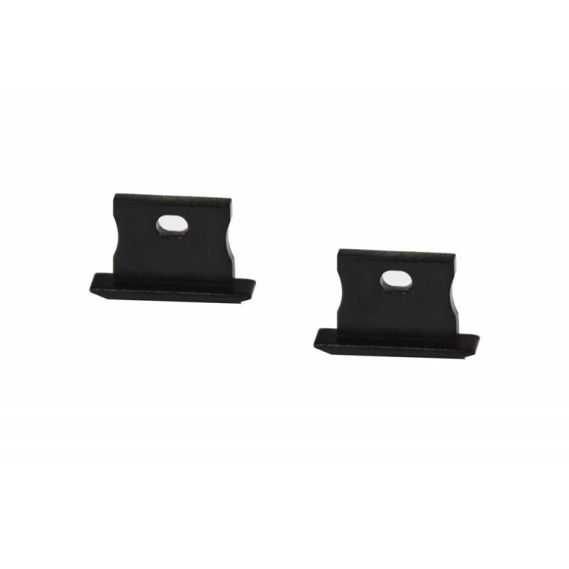 Tapa lateral para perfil Empotrable 23x15mm (1ud) : Color exterior - Negro Mate, Tapas laterales - Con Agujero