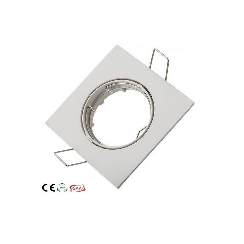 Aro downlight empotrable cuadrado basculante para bombilla GU10