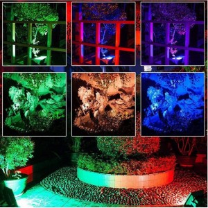 Foco proyector LED RGB 30W IP65 con mando 24 teclas y estaca