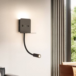 "Aplique de pared LED para lectura ""SLANGE"" 3W orientable y base de carga USB"