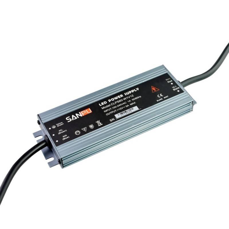 Fuente de Alimentación Estanca Compacta 60W IP67 12V-DC 5A