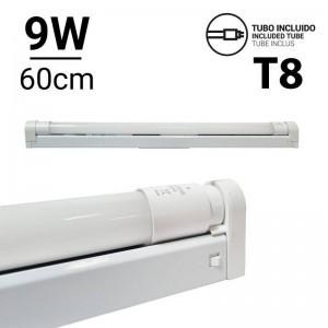 Kit de regleta portatubos y tubo LED T8 60cm 9W