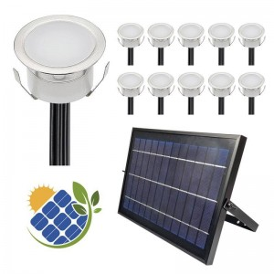 Pack 10 Balizas solares LED empotrables con Panel Solar