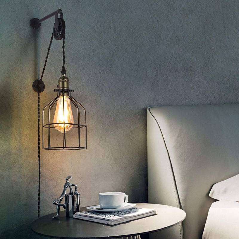 "Lámpara colgante pared Industrial/Vintage Jaula ""Clockwell"" con enchufe"
