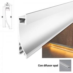 Perfil de aluminio empotrable bañador de pared zócalo 14x68mm