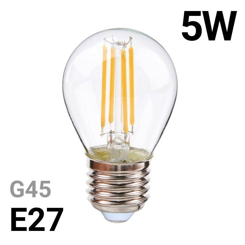 Bombilla LED esférica de filamento E27 5W G45