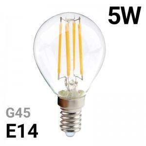 Bombilla LED de filamento esférica E14 G45 5W