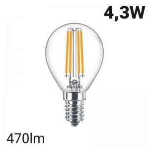 Bombilla LED de filamento esférica E14 P45/G45 4.3W | Philips Classic LEDLuster