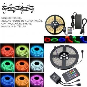 KIT TIRA LED MUSICAL 5M RGB, FUENTE DE ALIMENTACIÓN 12V, CONTROLADOR MUSICAL 24 TECLAS