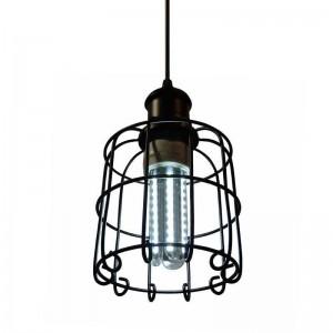 Lámpara tipo jaula Vintage de colgar, Tarabilla Lamp en negro
