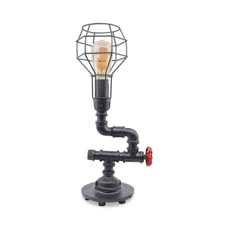 Lámpara vintage de mesa Flanagan estilo tuberías