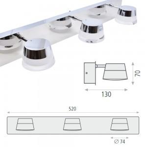 Aplique de Baño LED Triple Samba 15W IP44 Cromo