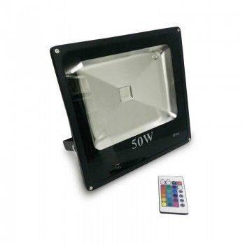 Foco proyector LED RGB 50W COB 230V-AC, CARCASA NEGRA,  IP65