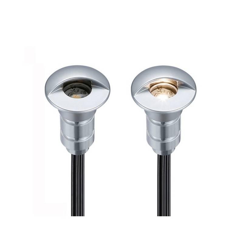 KIT LUCES DE ESCALERA12V-DC IP67, 6x 0.6W, Ø26X41MM INCLUYE CABLES Y ALIMENTADOR