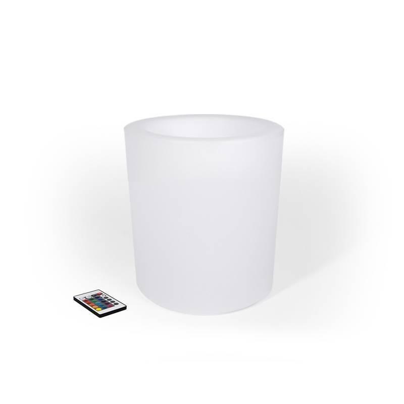 Maceta LED RGB de resina blanca, tipo cilindro, 40x40cm, 5W 3.5Kg