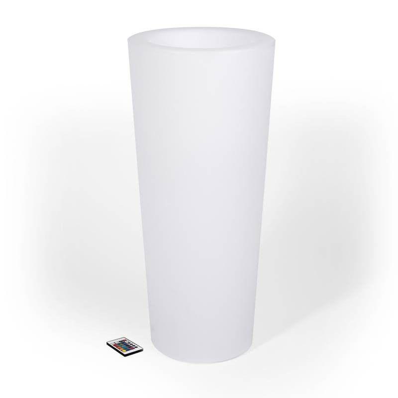 Maceta LED RGB de resina blanca, tipo cilindro, 40x80cm, 7W 5.2Kg