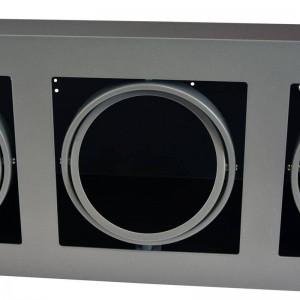 Cardan de acero para tres bombillas QR111 LED orientable y basculante 485x175/510x205mm color Gris