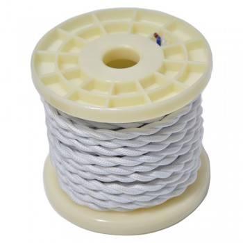 Cable eléctrico textil trenzado blanco 10mts