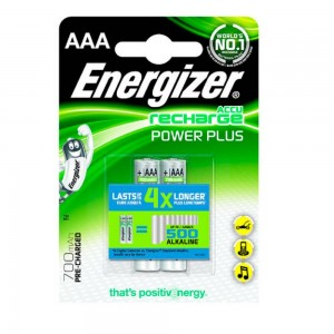 Pila Recargable Energizer Power Plus 700mAh HR03 (AAA) Blister de 2 Ud