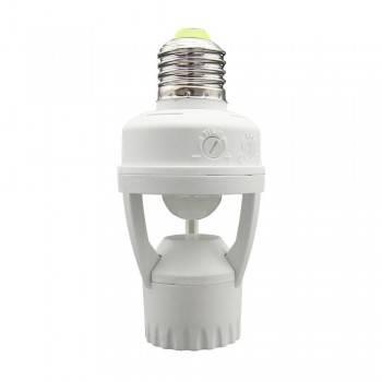 Adaptador P/Bombilla LED E27 con sensor de movimiento PIR