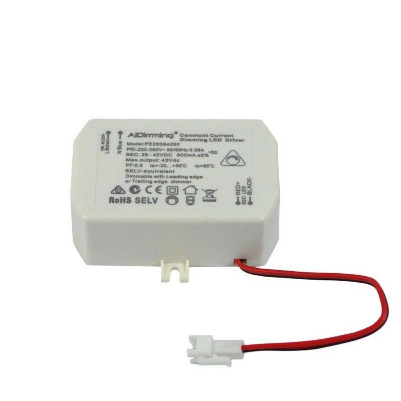 Driver dimable LED de corriente constante 25-42VDC 600mA