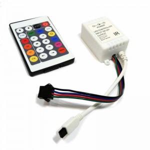 Controlador Tira IC 7,5/24V-DC 8A + mando IR 24 teclas