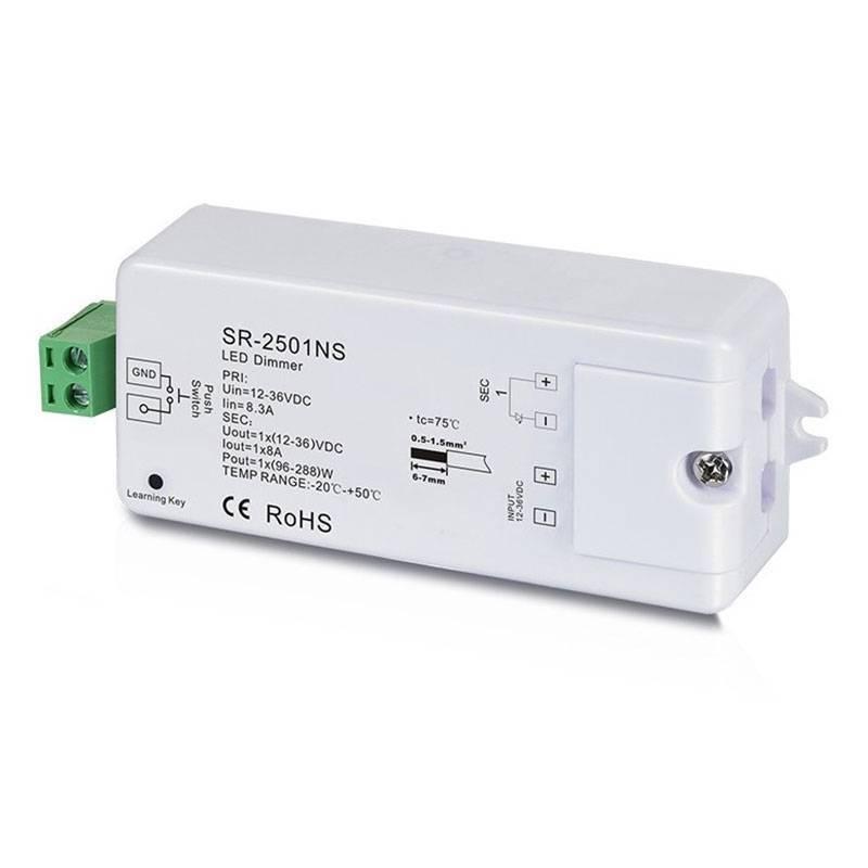 Regulador Monocolor PWM 12-36V-DC, 1 canal 8A, Control RF, 1 zona de control
