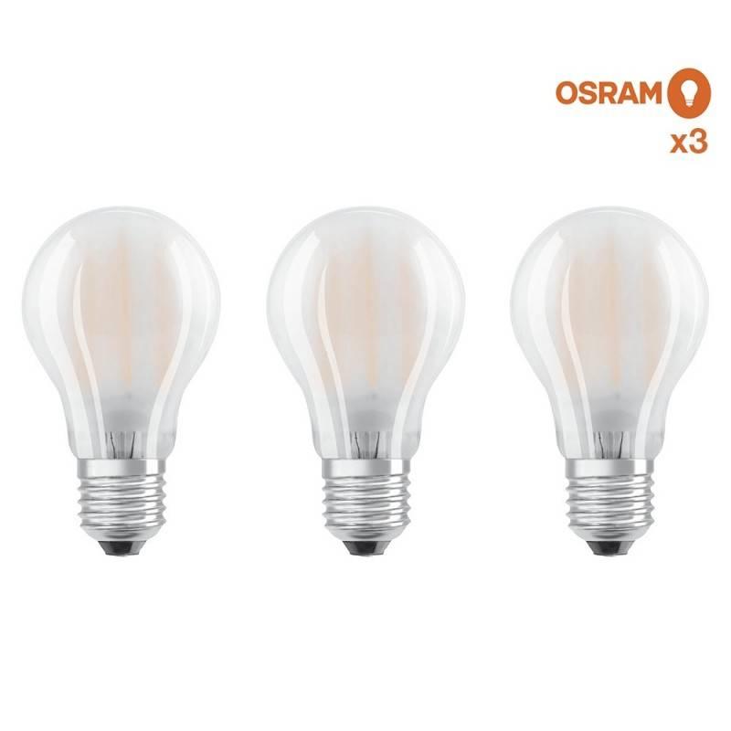 Pack ahorro de 3 bombillas LED OSRAM E27 A60 7W Glaseado