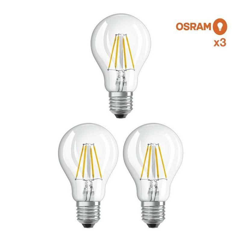 Pack ahorro de 3 bombillas LED OSRAM E27 A60 6.5W Transparente