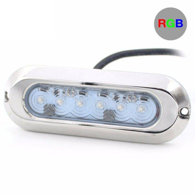 Luz LED RGB sumergible de superficie SLIM 30W 12V inox 316L IP68