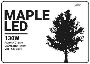 esquema o dibujo del árbol led maple en blanco y negro