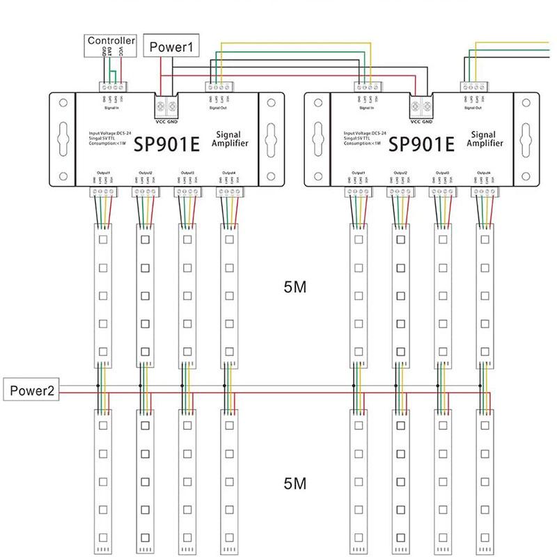 amplificador luces LED