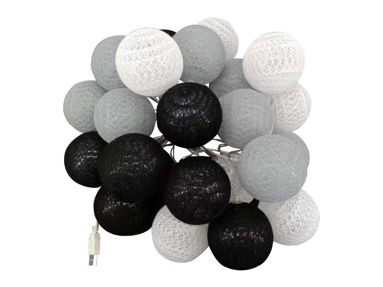 guirnalda led gris, blanco y negro