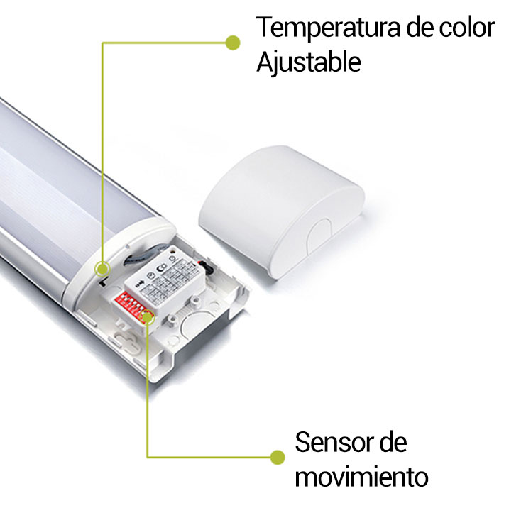 Sistema CCT y sensor luminaria led lineal