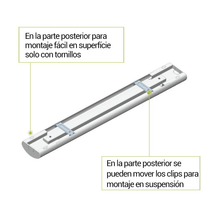luminaria lineal led CCT con sensor