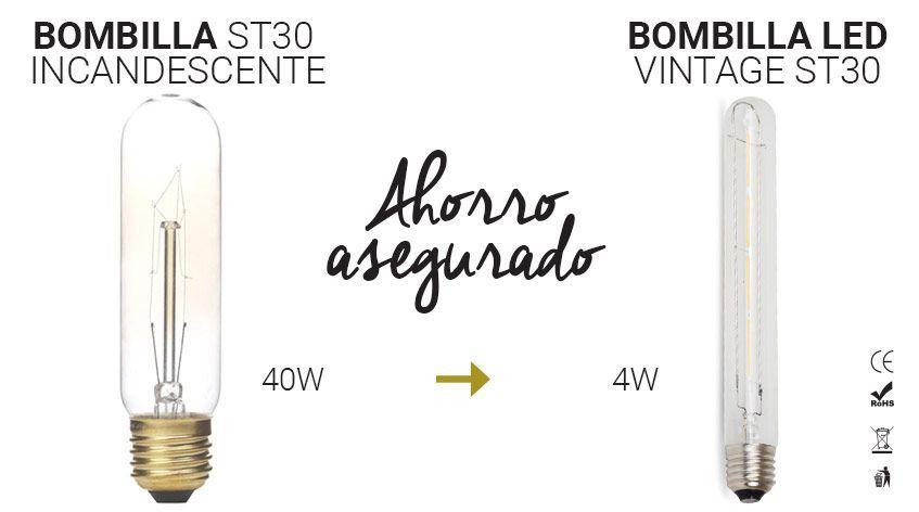 bombilla vintage alargada st30 led