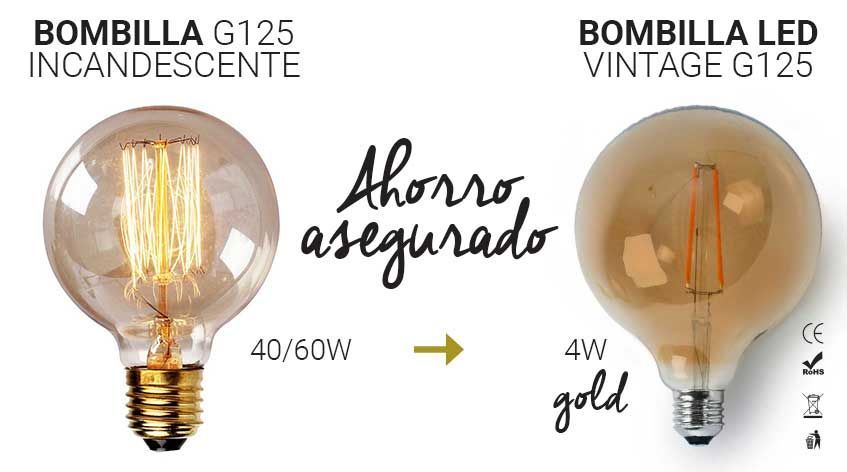 Equivalencia de potencias entre bombillas vintage LED e incandescente