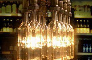 lampara decorativa de tuberias con bombillas botella led