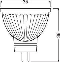 medidas bombilla LED gu4 osram parathom
