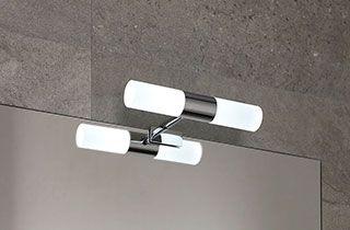 espejo de baño con aplique y bombilla r7s led dimable