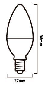 Medidas bombilla vela E14