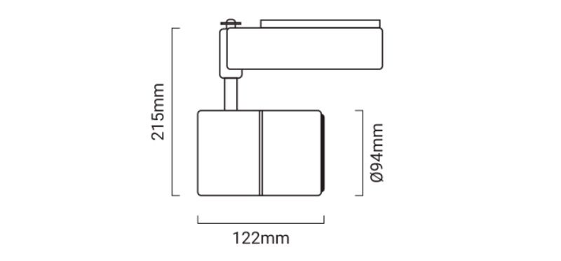 medidas proyector led carril monofásico 40W