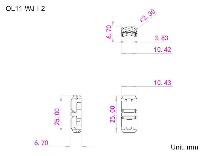 medidas conector en serie cable 2 pin