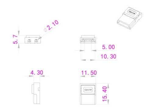 medidas conector clip